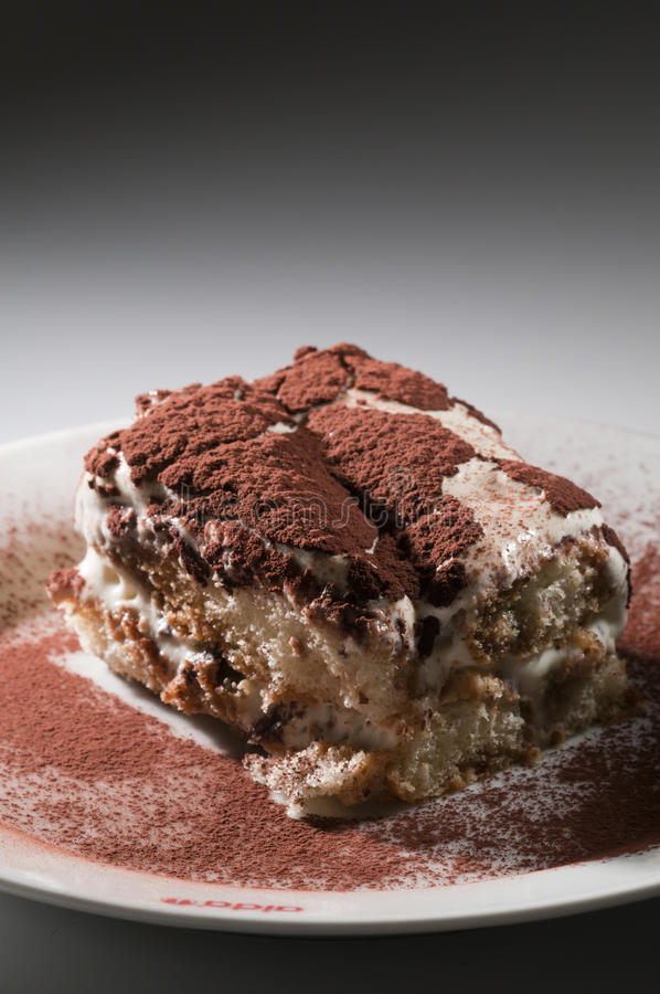 Classic, traditional tiramisu fresh cake. From Italian tradition royalty free stock image