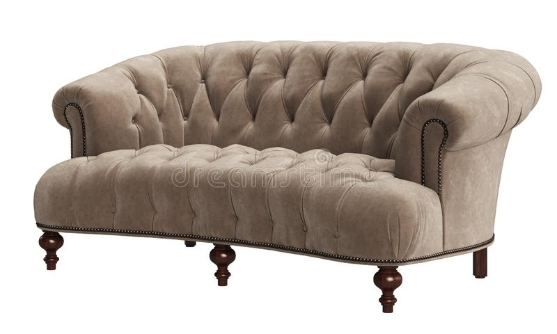 Classic tufted sofa isolated on white background. vector illustration