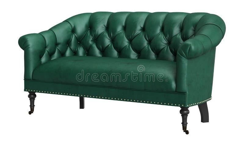 Classic tufted sofa isolated on white background.Digital illustration.3d rendering stock illustration