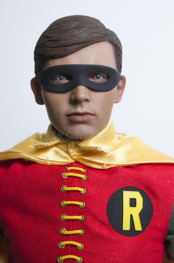 Classic Tv Show Batman and Robin Hot Toys Action Figures. Buenos Aires, Argentina- February 24, 2016: Classic Tv Show Robin Hot Toys Action Figure. 1960s Tv royalty free stock image
