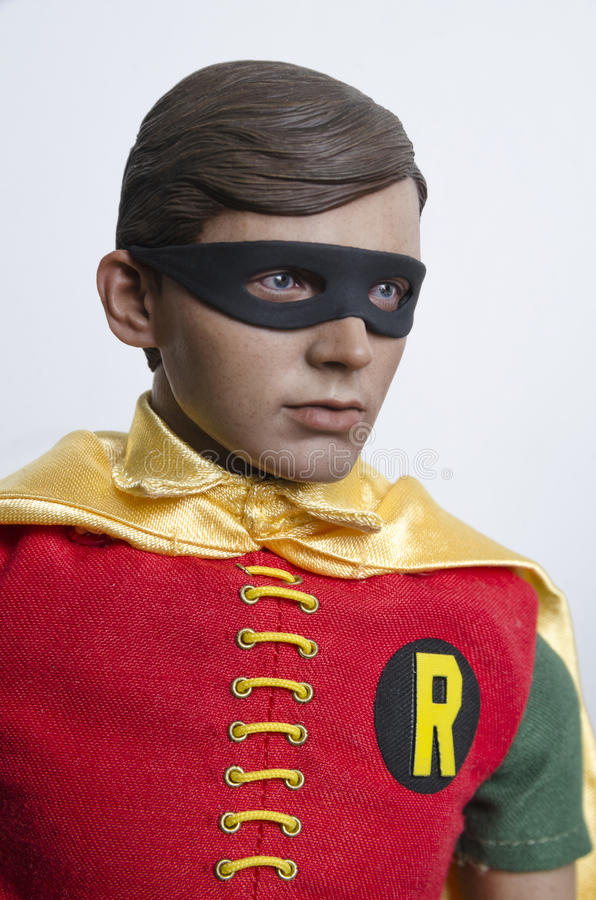 Classic Tv Show Batman and Robin Hot Toys Action Figures. Buenos Aires, Argentina- February 24, 2016: Classic Tv Show Robin Hot Toys Action Figure. 1960s Tv royalty free stock photos