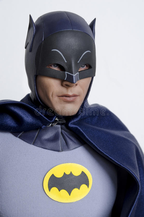 Classic Tv Show Batman and Robin Hot Toys Action Figures. Buenos Aires, Argentina- February 24, 2016: Classic Tv Show Batman Hot Toys Action Figure. 1960s Tv stock photos
