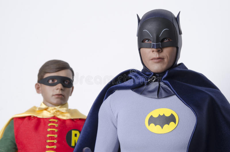 Classic Tv Show Batman and Robin Hot Toys Action Figures. Buenos Aires, Argentina- February 24, 2016: Classic Tv Show Batman and Robin Hot Toys Action Figures royalty free stock image