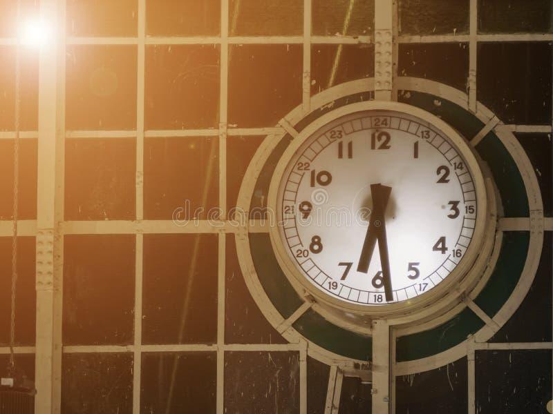 Classic urban analog clock. stock photos