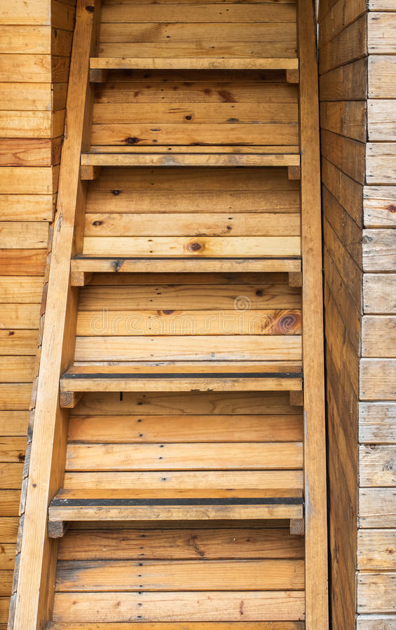Classic Used Old Brown Panel Wood Plank Stair Texture Background for Room Interior. Design stock image