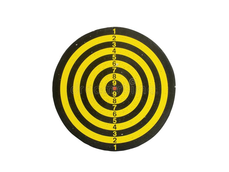 Classic Used Yellow and Black Dart Board on White with Clipping Path. Classic Used Yellow and Black Dart Board Isolated on White Background with Clipping Path royalty free illustration