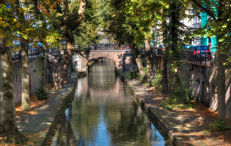 Classic Utrecht Canal. The unique split-level Oudegracht (old canal) that runs through the center of Utrecht royalty free stock image