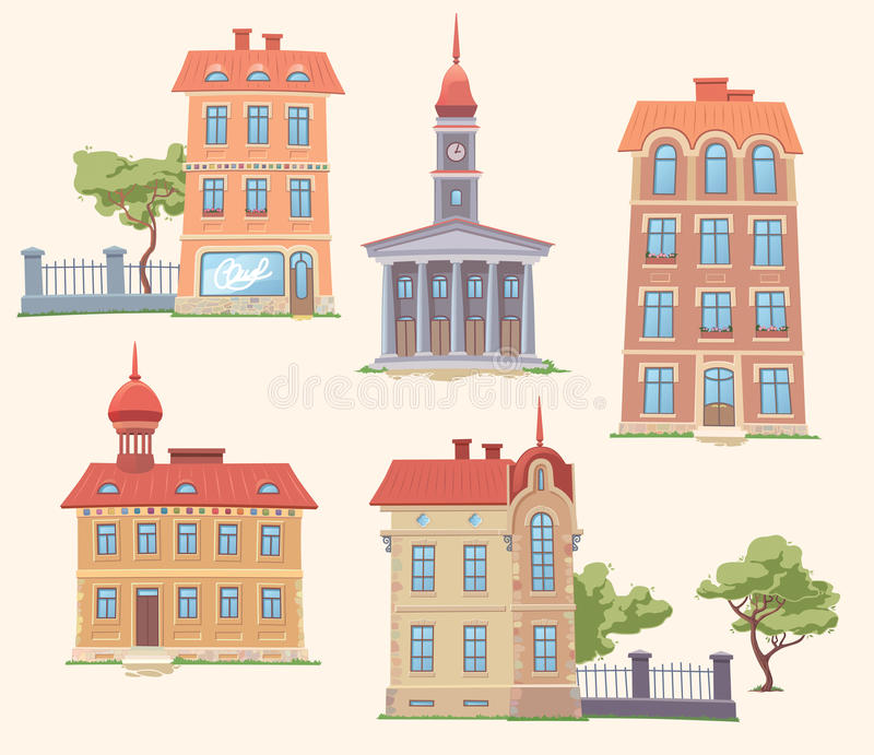 Classic Vector Buildings Set. The set of the old but classic vector buildings. There are the residence building, the apartment houses, the small parks and the stock illustration