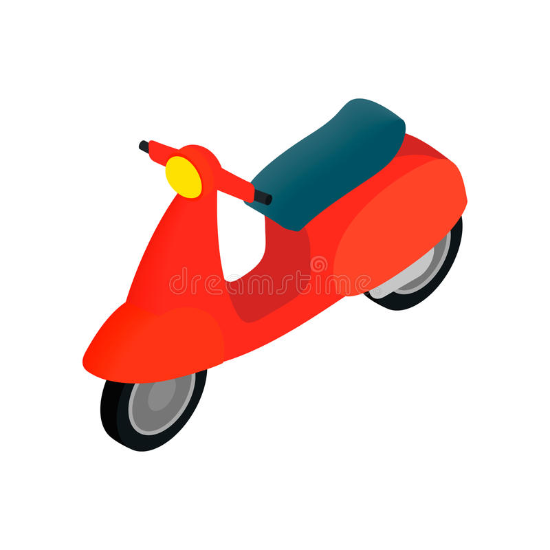 Classic Vespa scooter icon, isometric 3d style. Classic Vespa scooter icon in isometric 3d style on a white background vector illustration