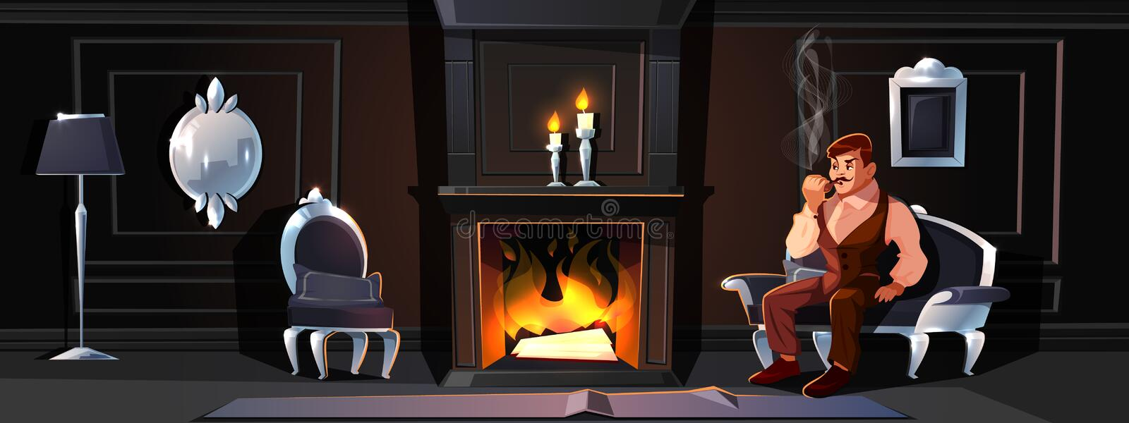 Gentleman smoking tube near home fireplace vector stock illustration