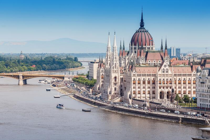 Classic view of the famous tourist attraction of Budapest - the Hungarian Parliament and the Danube River with ships. A classic view of the famous tourist stock image