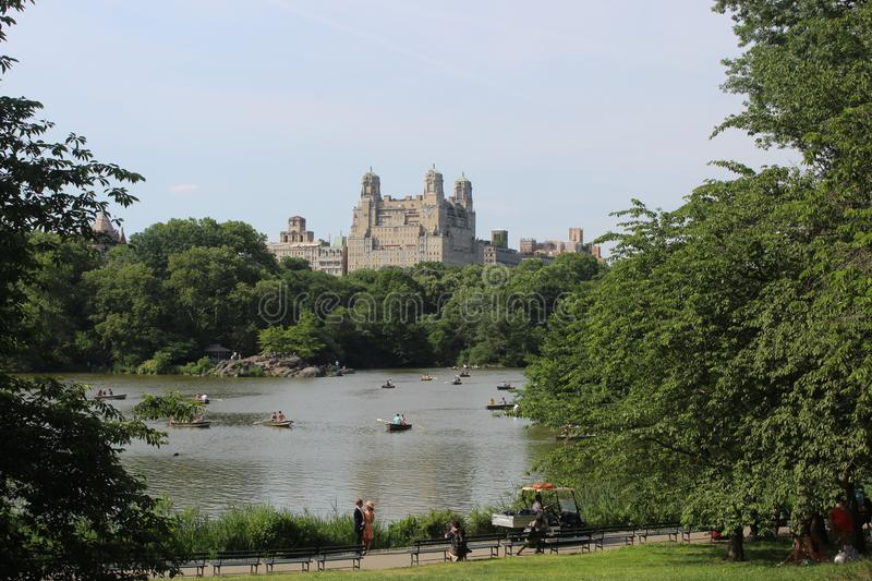 Classic views of New York from Lake Central Park stock image