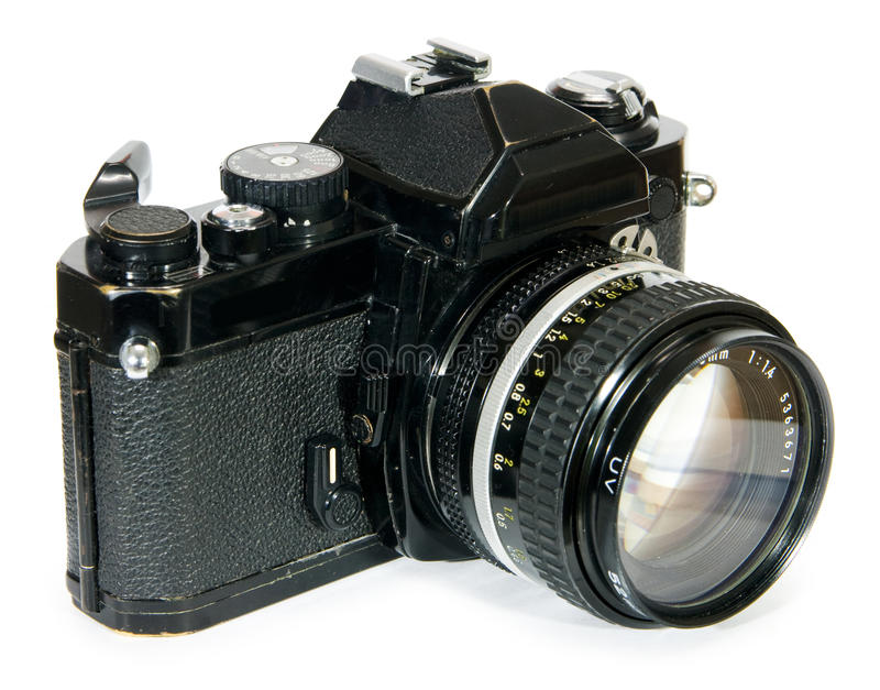 Classic vintage 35mm film SLR camera stock photo
