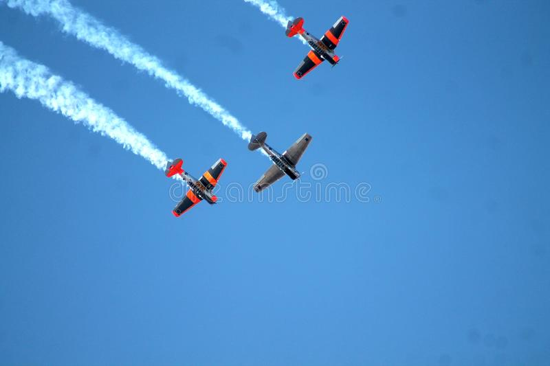Classic Vintage Airplane Flight, Flying Aviation Harvard royalty free stock photo