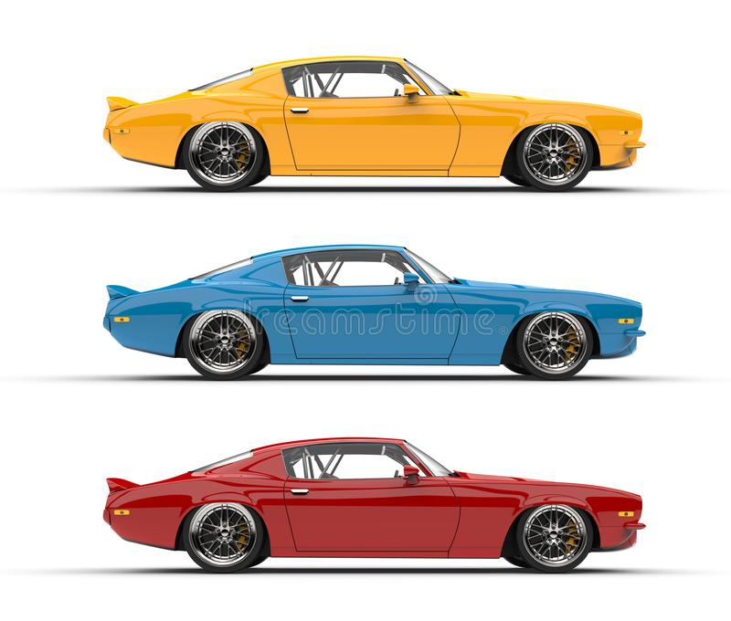 classic vintage american cars in red blue and yellow colors side view stock illustration. Black Bedroom Furniture Sets. Home Design Ideas