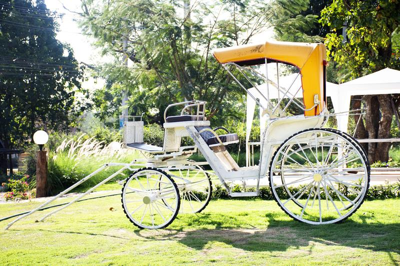Classic vintage bicycle rickshaw at outdoor for thai people and travelers visit and take photo at Nakhon Ratchasima, Thailand T stock photography