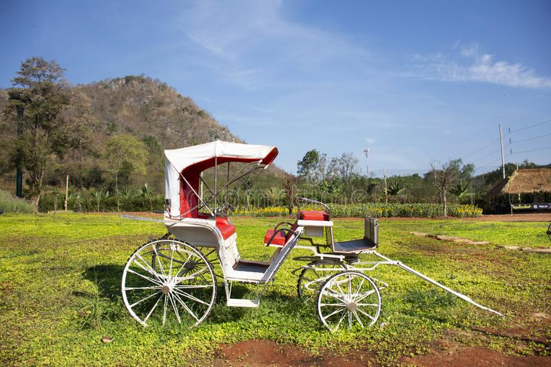 Classic vintage bicycle rickshaw at outdoor for thai people and travelers visit and take photo at Nakhon Ratchasima, Thailand T. Classic vintage bicycle rickshaw stock photo