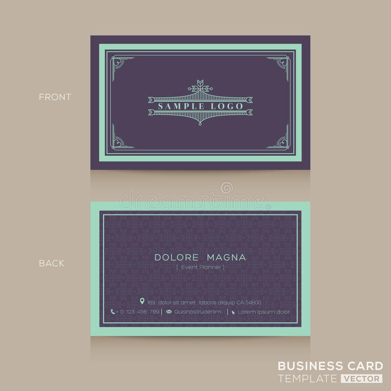 Classic Vintage Business Card Namecard Template Stock Vector ...