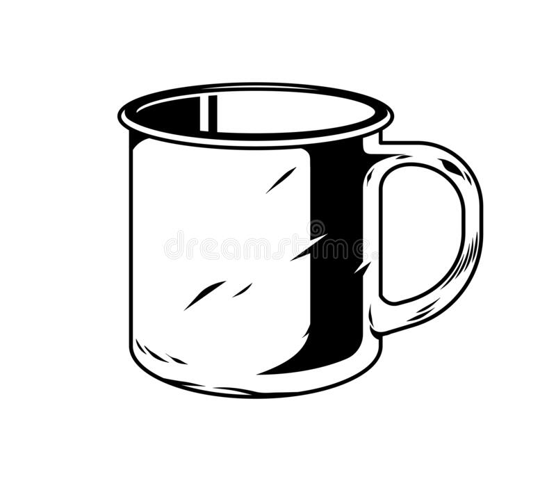 Classic vintage camping metal mug for drink water royalty free stock image