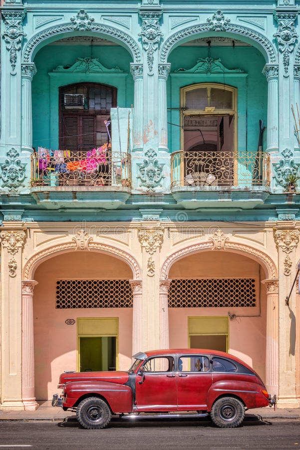 Classic vintage car and coloful colonial buildings in Old Havana. Cuba stock images