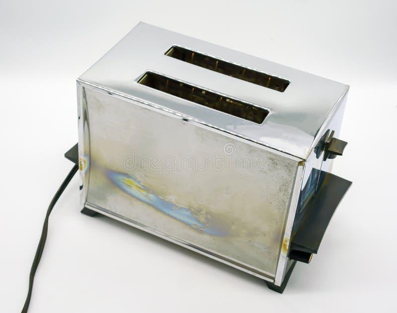 Classic chrome toaster on white stock photos