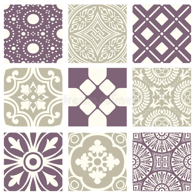 Classic vintage elegant pastel violet seamless abstract pattern 38. Antique retro abstract pattern set collection can be used for wallpaper, web page background vector illustration