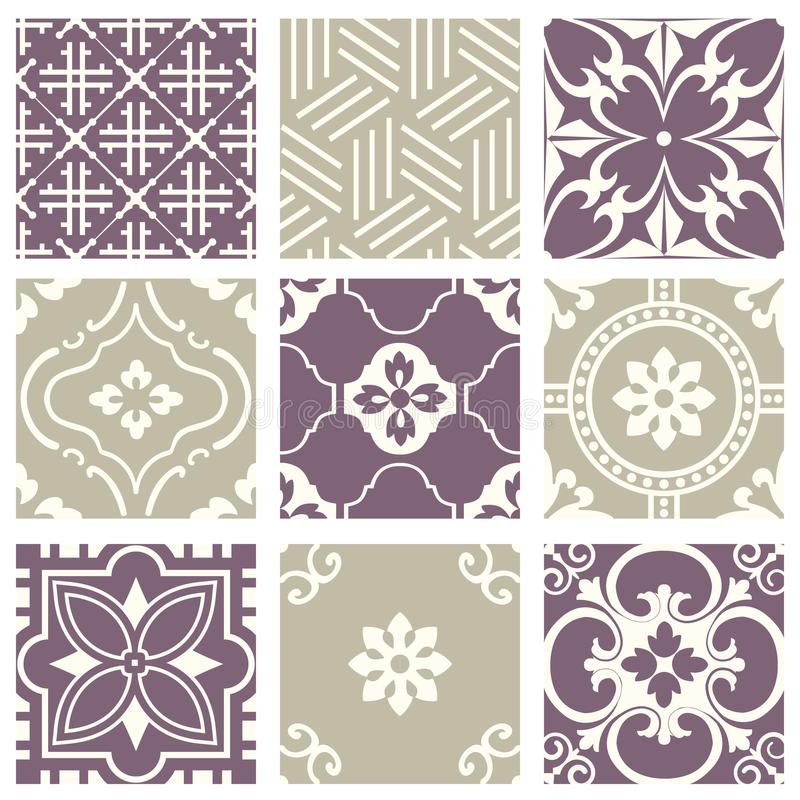 Classic vintage elegant pastel violet seamless abstract pattern 44. Antique retro abstract pattern set collection can be used for wallpaper, web page background stock illustration