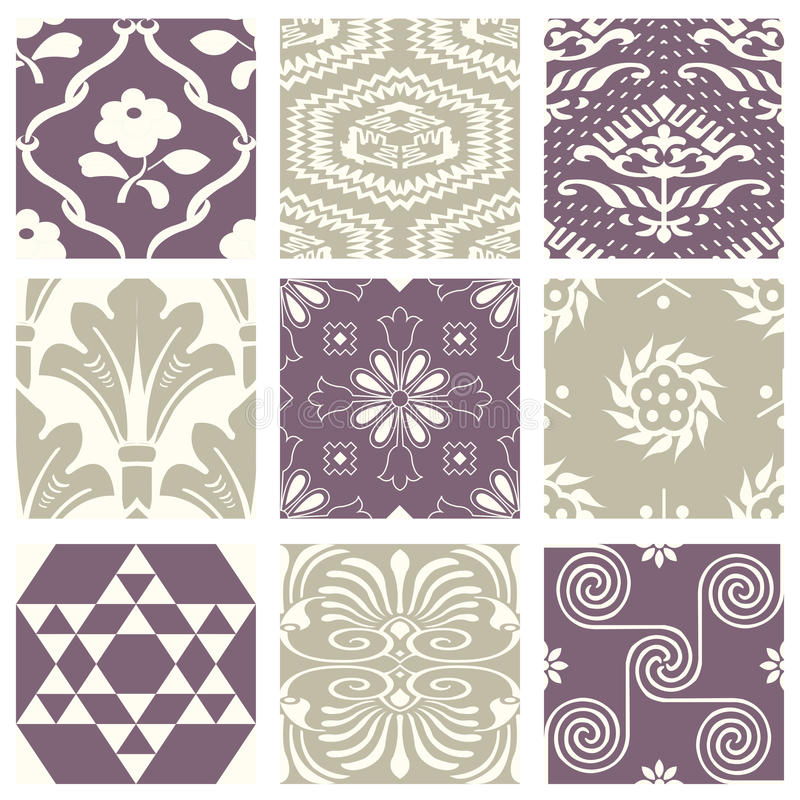 Classic vintage elegant pastel violet seamless abstract pattern 51. Antique retro abstract pattern set collection can be used for wallpaper, web page background vector illustration