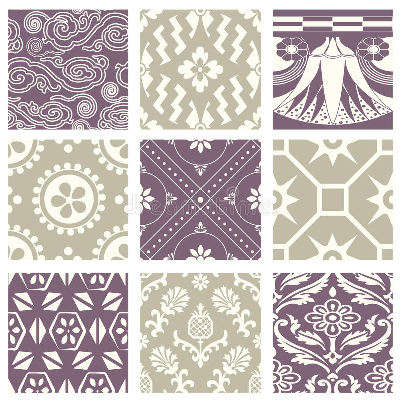 Classic vintage elegant pastel violet seamless abstract pattern 55. Antique retro abstract pattern set collection can be used for wallpaper, web page background vector illustration