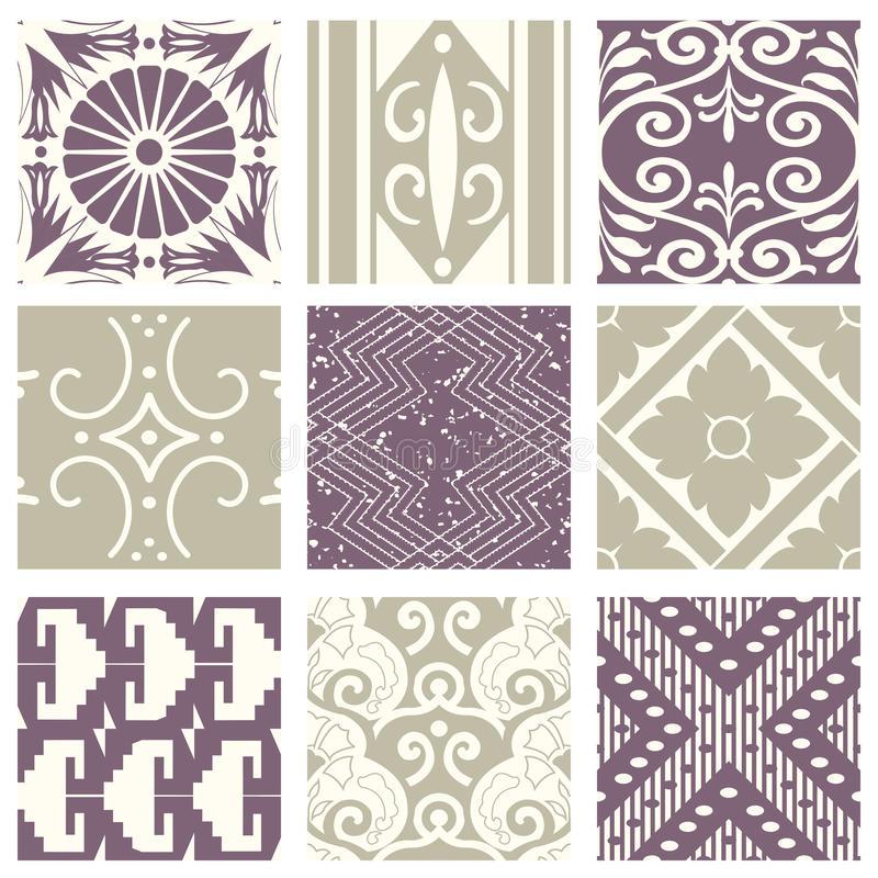 Classic vintage elegant pastel violet seamless abstract pattern 53. Antique retro abstract pattern set collection can be used for wallpaper, web page background vector illustration