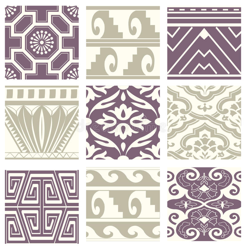 Classic vintage elegant pastel violet seamless abstract pattern 54. Antique retro abstract pattern set collection can be used for wallpaper, web page background vector illustration