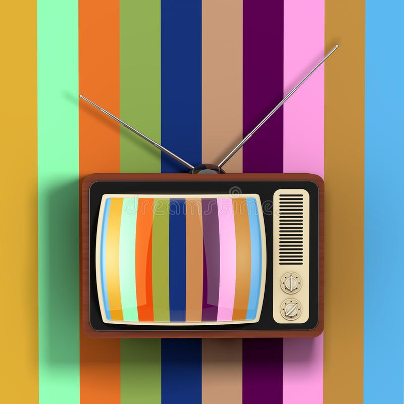 Classic Vintage Rare TV in front of Multicolour Wall. 3d Rendering vector illustration