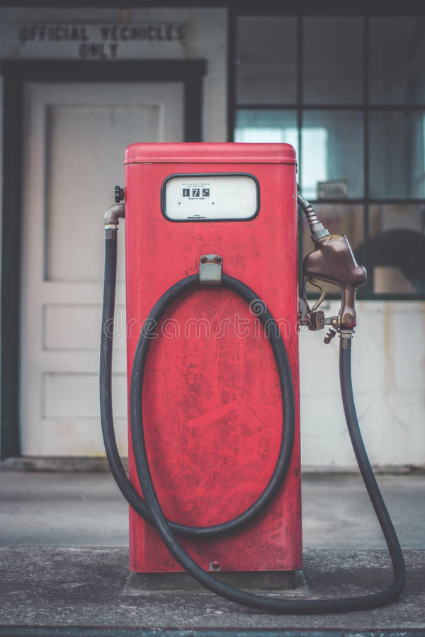 Classic vintage red fuel pumps. A piece of Americana. Classic vintage red fuel pumps stock image