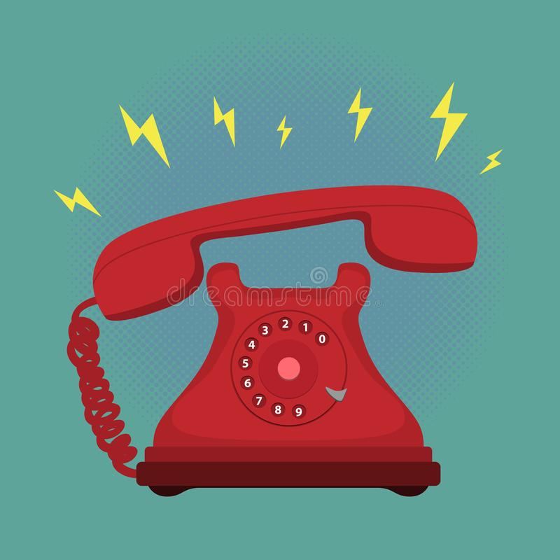 Classic Vintage Retro Dial Telephone are Ringing on Green background. stock illustration