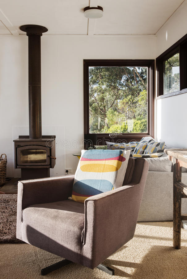 Free Classic Vintage Retro Lounge Recliner Chair In 70s Beach House Stock Image - 77894721