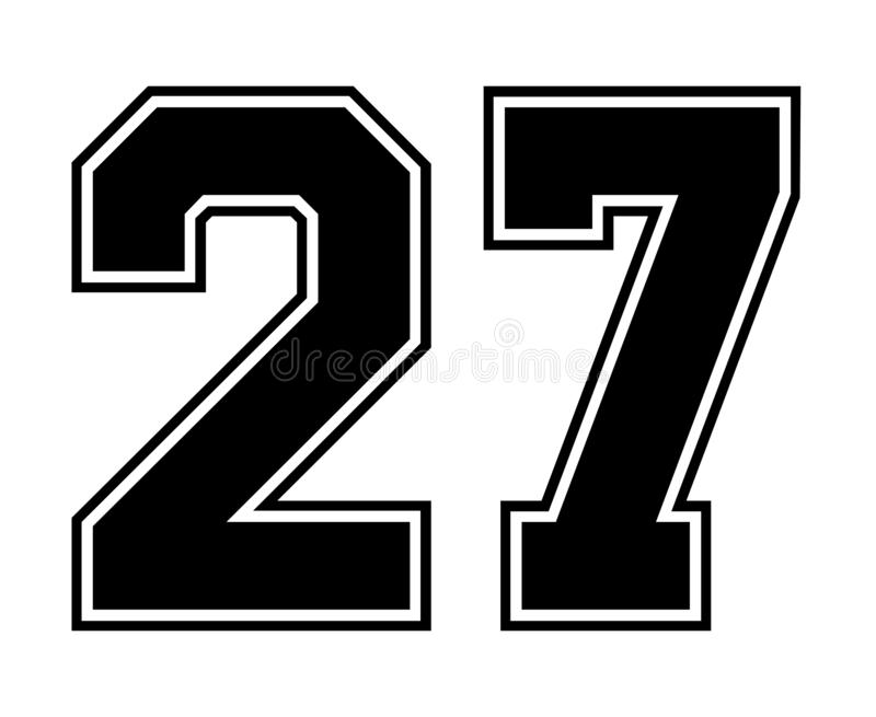 27 Classic Vintage Sport Jersey Number In Black Number On White ...