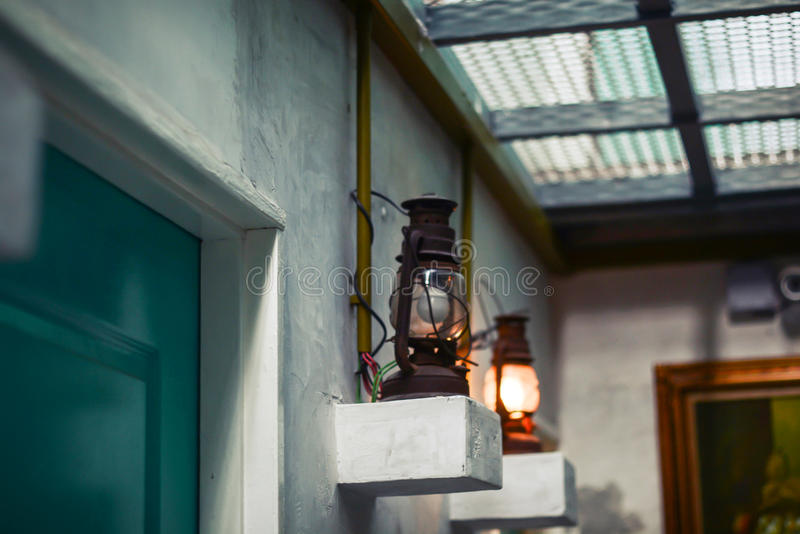 Classic vintage wall lamp stock photography