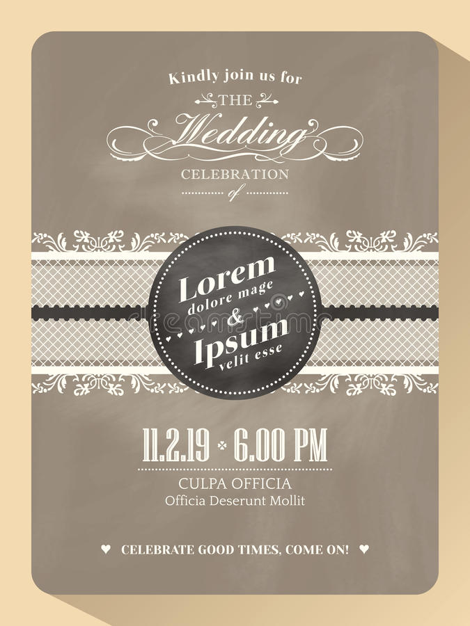 Classic Vintage Wedding Invitation Card Template Stock Vector ...