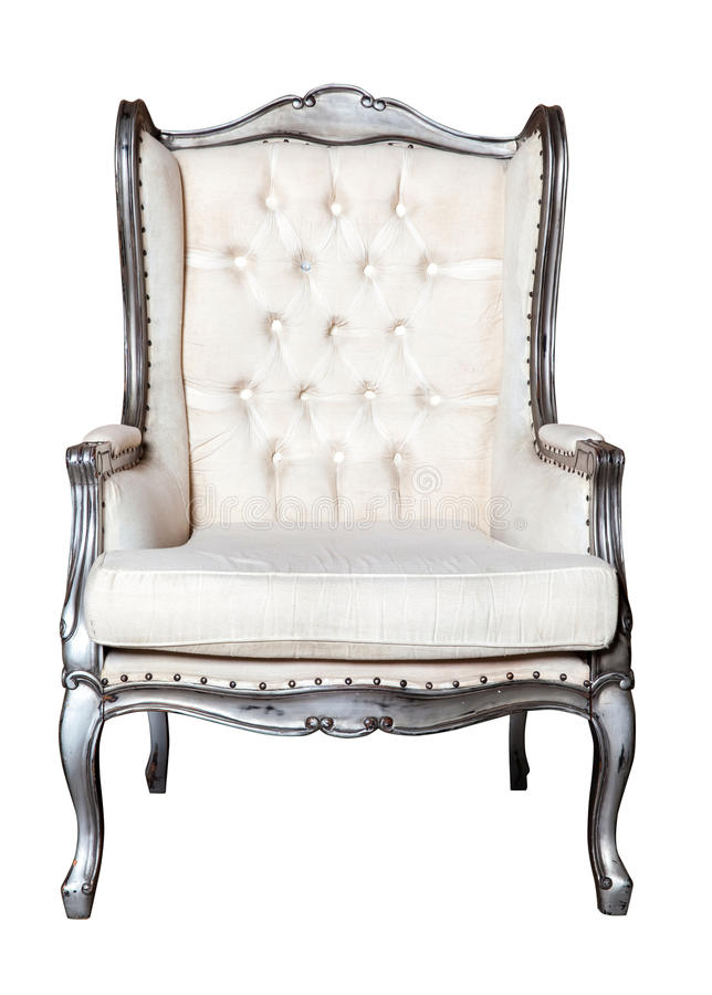 Free Classic Vintage White Chair Isolated Royalty Free Stock Photography - 62485817