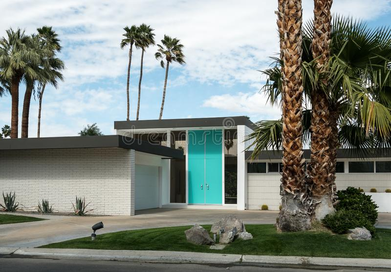 Palm Springs, California classic residential architecture. Classic vivid front door, mid-century home in Palm Springs, California stock images