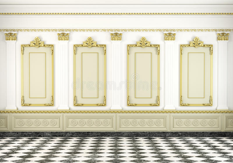 Classic wall background with golden stock illustration