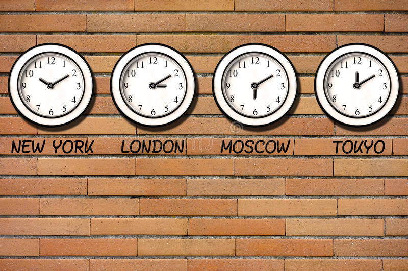 Classic Wall Bricks Clocks Clock Timezone stock photo