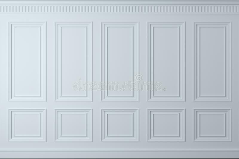 Classic wall of white wood panels. Joinery in the interior. Background. 3d illustration. Classic wall of white wood panels. Joinery in the interior. Background royalty free illustration