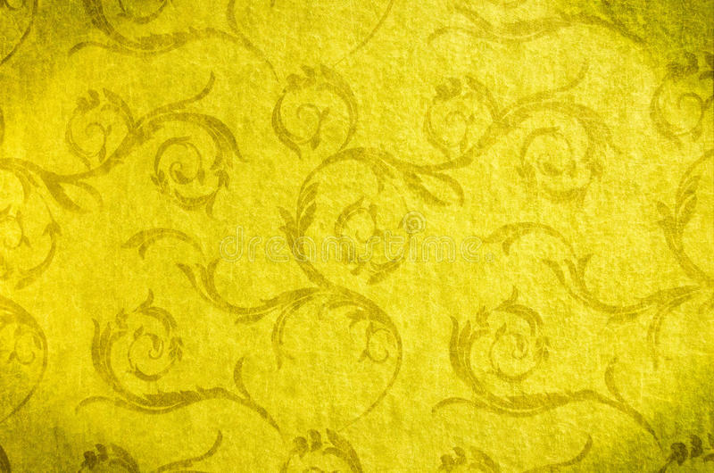 Classic wallpaper seamless vintage pattern on gold background stock images
