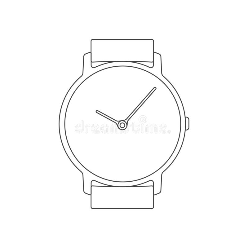 Classic watch simple line icon. Isolated vector sign stock illustration