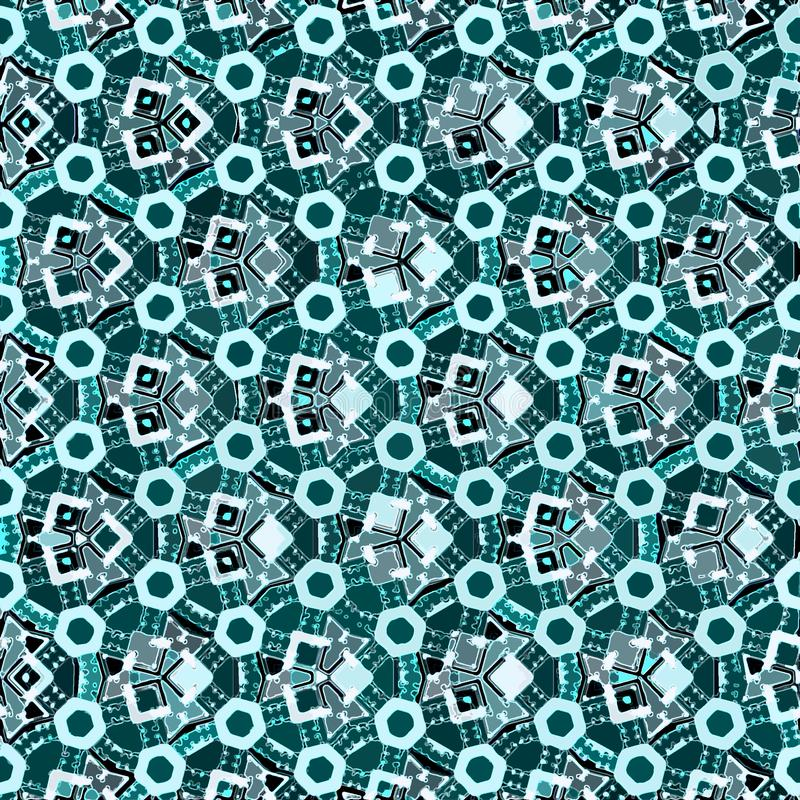 Classic watercolor pattern with teal endless pattern. Watercolor pattern with teal endless pattern royalty free stock photo
