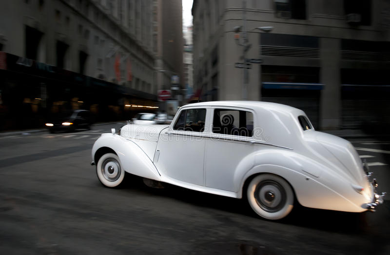 Classic Wedding Car. In Movement stock photo