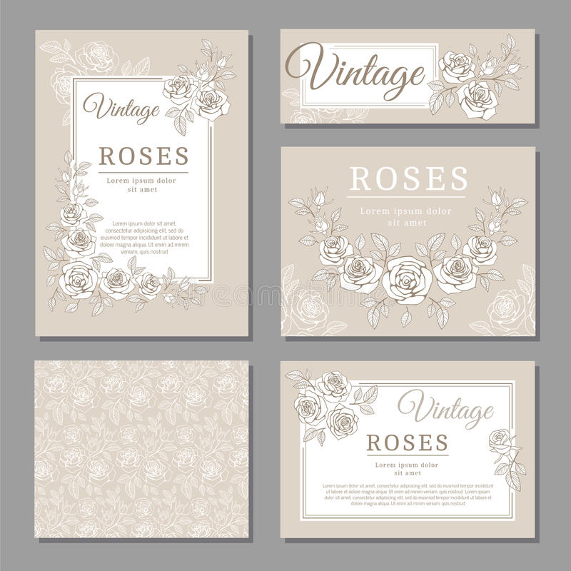 Classic wedding vintage invitation cards with roses and floral elements vector templates stock illustration