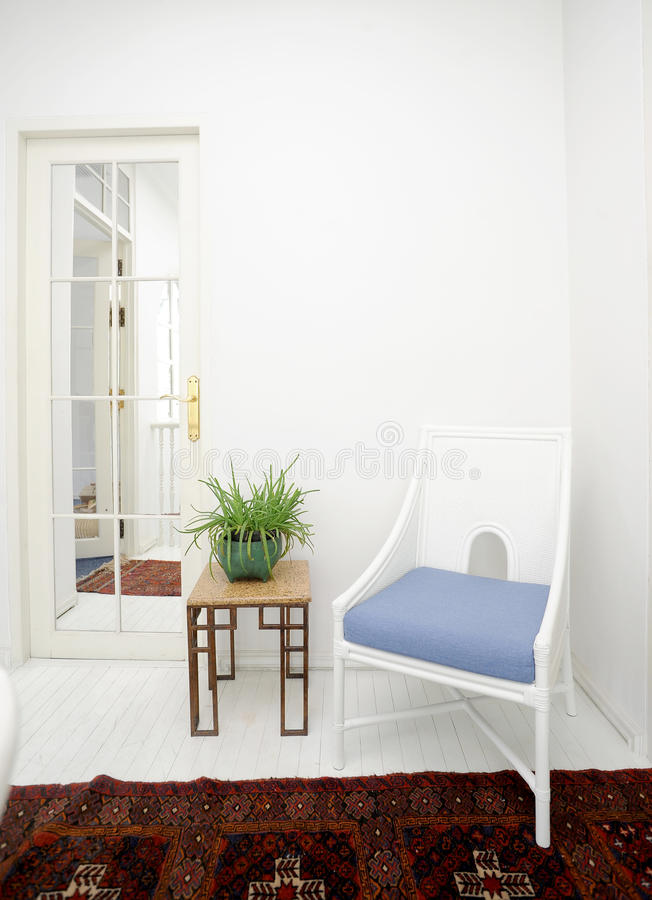 Classic white interior. In home stock photography