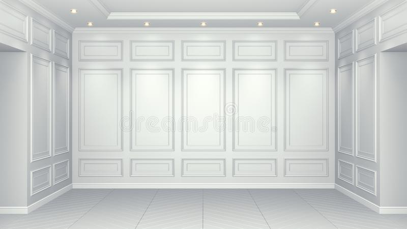 Classic white interior with copy space. Red walls with classical decor. Floor parquet herringbone. 3d rendering. Classic white interior with copy space. Red stock illustration